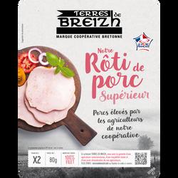 Notre rôti de porc nature cuit supérieur TERRES DE BREIZH, 2 tranches,80g