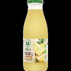 Pur jus ananas U BIO, bouteille en verre de 75cl