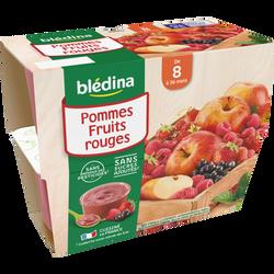 Coupelle 100% fruits pommes fruits rouges BLEDINA, de 8 à 36 mois, 4x100 g