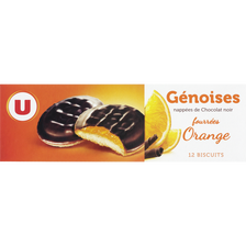 Génoises fourrées à l'orange nappées de chocolat U, paquet de 150g