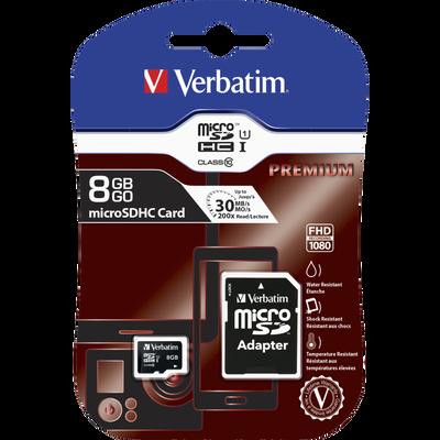 Carte mémoire Micro SD VERBATIM, classe 4, 8Go