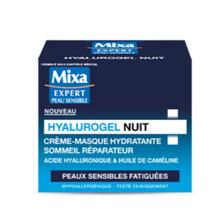 Soin crème masque hydratante peaux sensibles hyalurogel sommeil réparateur MIXA, pot de 50 ml