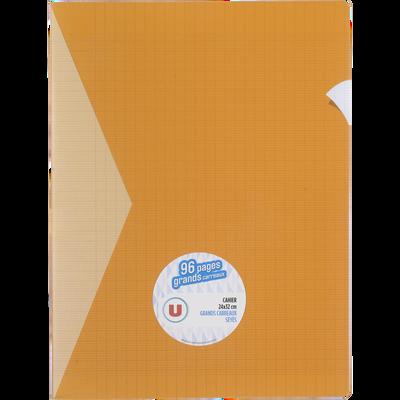 Grand cahier piqure U, grands carreaux, 24x32cm, 96 pages, jaune