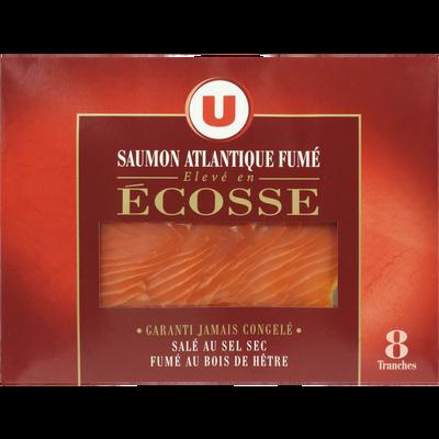 Saumon fumé Atlantique Ecosse U, plateau de 8 tranches, 300g