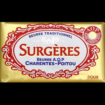 Beurre doux AOP Charentes-Poitou SURGERES, 82% de MG, 250g
