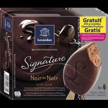 Crème glacée au chocolat avec fèves de cacao enrobée au chocolat noir,LEONIDAS SIGNATURE, 3 unités, 168g