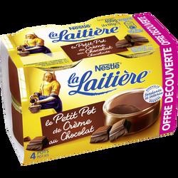 Dessert Le petit pot de crème chocolat LA LAITIERE, 4x100g