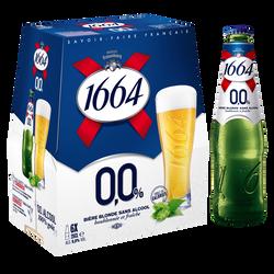 Bière blonde sans alcool 1664, 6x25cl