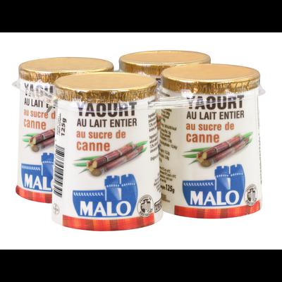 Yaourt sucré nature MALO, 4 pots, 125g