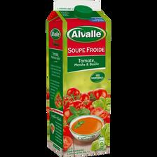Soupe froide de tomate menthe et basilic ALVALLE, brique de 1l