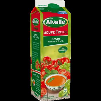 Soupe froide de tomate menthe et basilic ALVALLE, brique de 1 litre