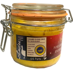 Foie gras canard label rouge conserve PANACHE DES LANDES, bocal de 180g