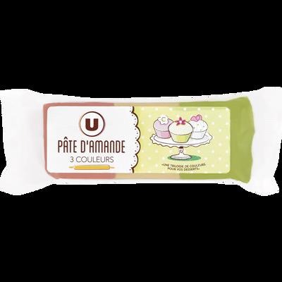 Pâte d'amandes 3 couleurs U, paquet de 150g