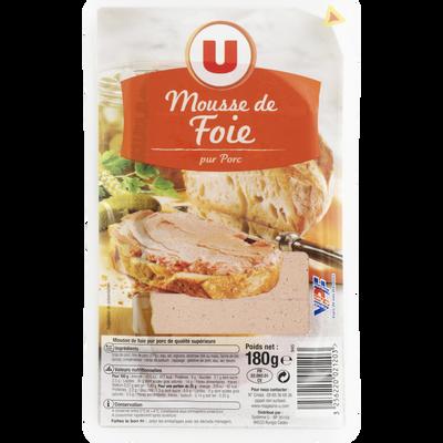 Mousse de foie qualité supérieure pur porc U, tranche de 180g