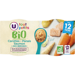 Bols carottes panais saumon  Tout Petits Bio U dès 12mois, 2x200g