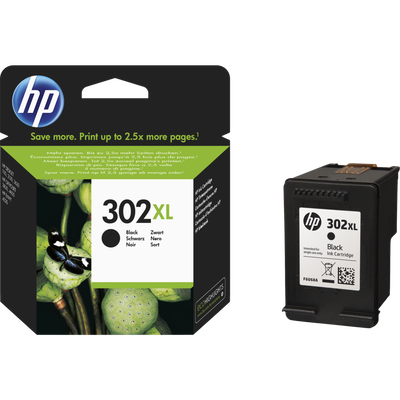 Cartouche d'encre HP pour imprimante, F6U68AE, noir n°302XL, sous blister