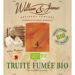 Truite fumée bio WILLIAM & JAMES, x4 soit 100g