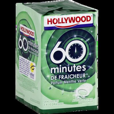 Chewing gums sans sucre 60 minutes de draîcheur menthe verte HOLLYWOOD, dragées, 3x20g