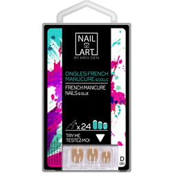 Ongles french manucure longs base rose, x24 MISS DEN