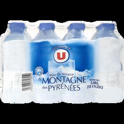 Eau de source des montagnes des Pyrenées U, 12 bouteilles de 33cl