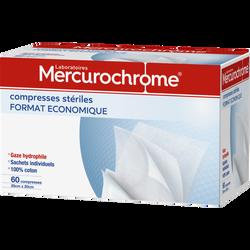 Compresses stérilisées MERCUROCHROME, 20x20, 60 unités