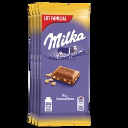 Chocolat au lait & riz MILKA, 4 tablettes de 100g lot famillial