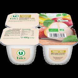Purée de pomme poire sans sucres ajoutés U BIO, 4x100g