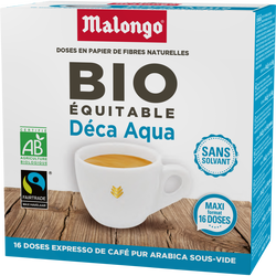Café aqua décaféiné bio commerce équitable MALONGO, dose de 104g