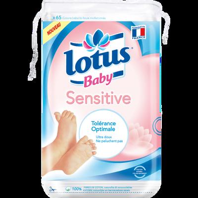 Coton carré bébé sensitive LOTUS BABY, sachet de 65
