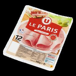 Jambon de Paris viande de porc française U, 12 tranches soit 540g