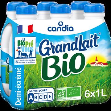 Candia Lait Uht 1/2 Écrémé Biologique Grandlait, 6x1l