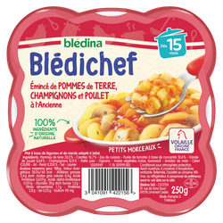 BLEDICHEF émincés pdt champignons poulet 15m.BLEDINA 250g