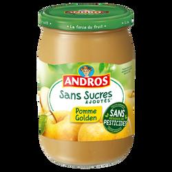 Dessert pomme golden nature sans sucres ajoutés ANDROS, bocal de 640g