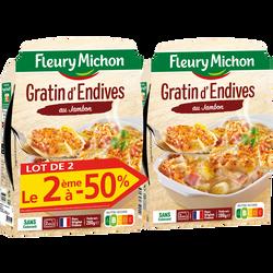 Gratin d'endives jambon FLEURY MICHON 2x280g dt 2éme 1/2 px