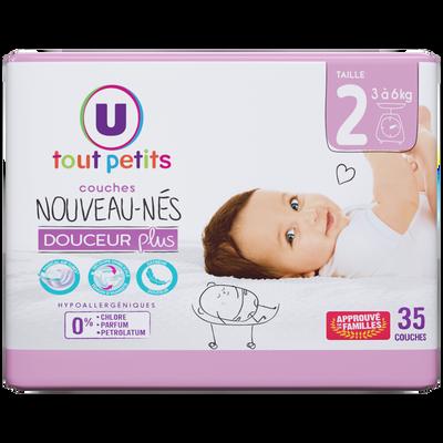 Couches douceur plus nouveaux-nés U TOUT PETITS taille 2, 3,6kg, sachet x35