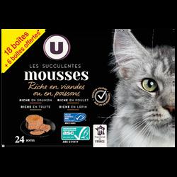 Mousses Gourmandes Viande/Poisson U, 24x85gr (18+6 offerte)