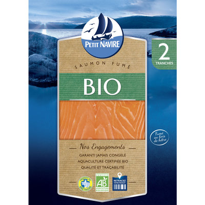 Saumon Atlantique bio fumé PETIT NAVIRE, 2 mini tranches soit 70g