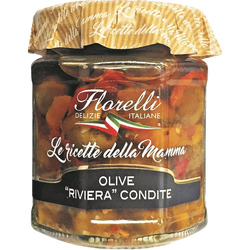 Olives messines Sicile et poivrons à l'Huile d'Olive FLORELLI, 200g