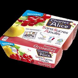 Dessert aux fruits sans sucre ajouté pomme/groseille CHARLES ET ALICE4X97G