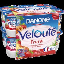 Yaourts brassés sucrés aux fruits mixés goûts panachés velouté fruix DANONE, 12x125g