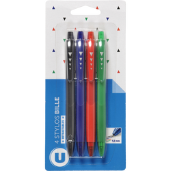 Stylo bille retractable U, pack de 4 coloris assortis