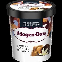 Crème glacée vanille avec sauce caramel et morceaux de brownie HAAGENDAZS 386g