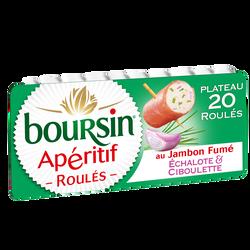 Fromage pasteurisé échalote et ciboulette roulé au jambon fumé BOURSIN, 32%mg, 100g