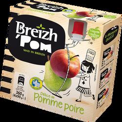 Compote pomme poire gourdes BREIZH'POM, 4X90G, 360G