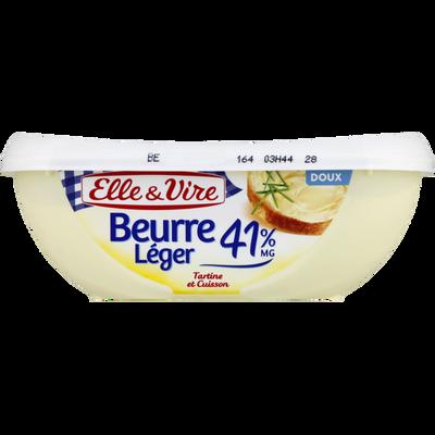 """Beurre doux """"Léger"""" ELLE&VIRE, 41% de MG, barquette de 250g"""