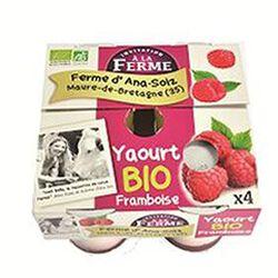 Yaourt BIO au lait frais de vaches, framboise, FERME D'ANA-SOIZ, 4 pots de 125g
