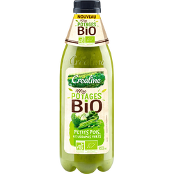 Potage petits pois et légumes verts, BIO, CREALINE, bouteille 950ml