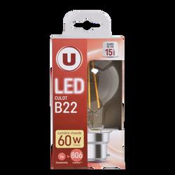 Led U, ronde, 60w, b22, transparent, lumière chaude