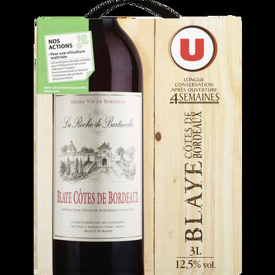Vin rouge AOC Blaye Côtes de Bordeaux La Rochede Bartavelle U, fontaine à vin de 3l