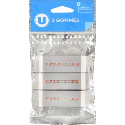 Gomme technique U, pack de 3